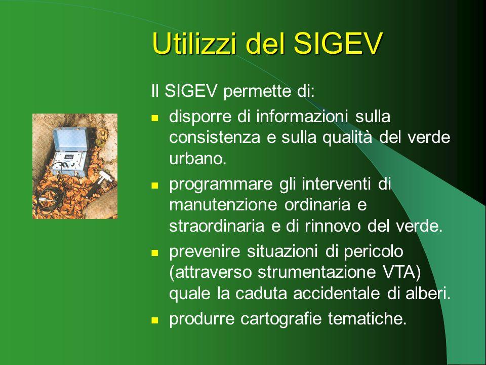 Utilizzi del SIGEV Il SIGEV permette di: