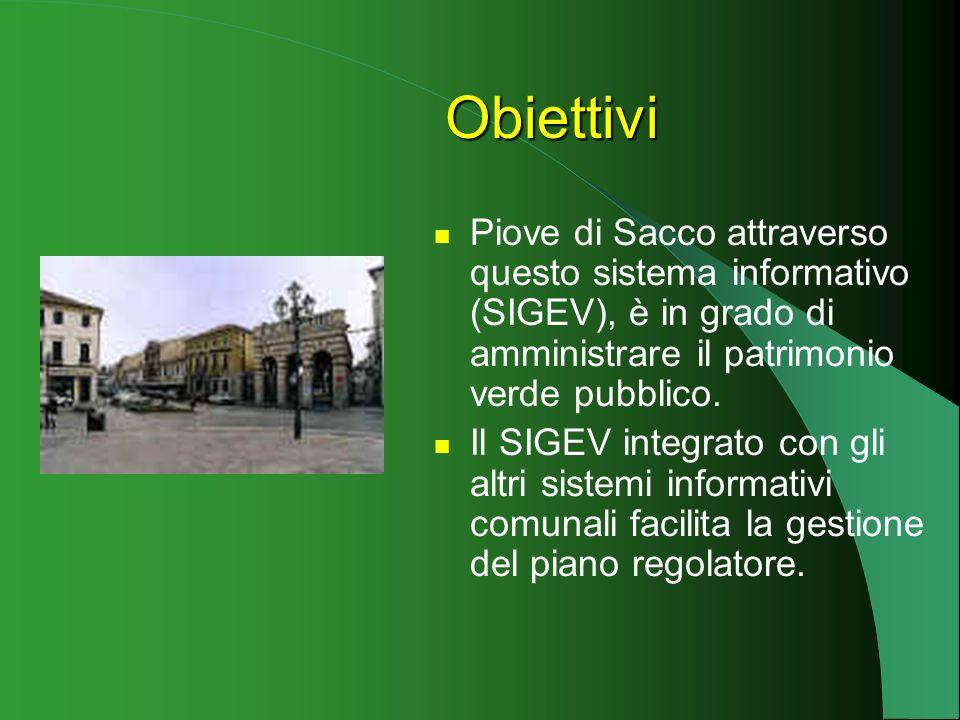 Obiettivi Piove di Sacco attraverso questo sistema informativo (SIGEV), è in grado di amministrare il patrimonio verde pubblico.