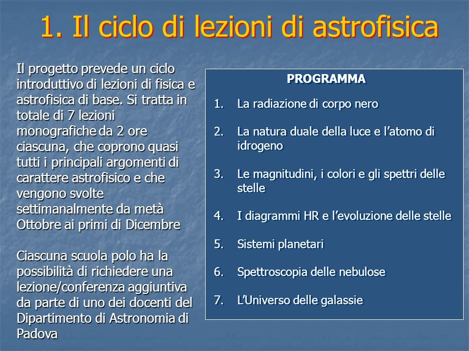 1. Il ciclo di lezioni di astrofisica
