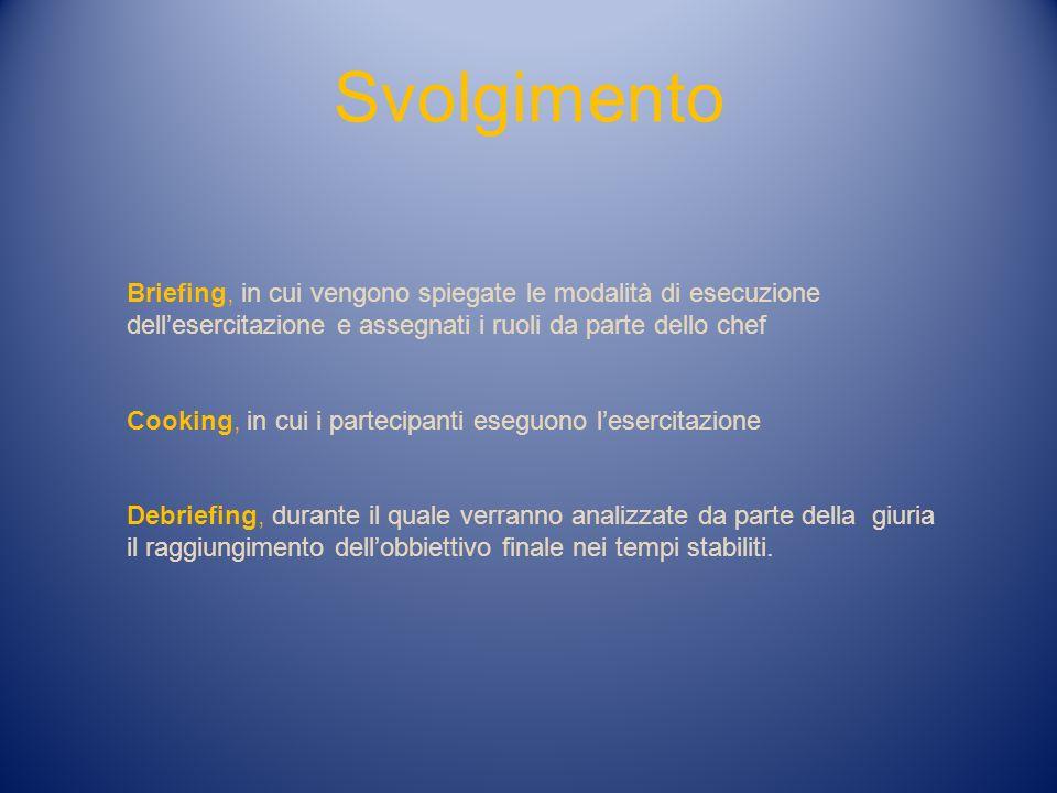 Svolgimento Briefing, in cui vengono spiegate le modalità di esecuzione. dell'esercitazione e assegnati i ruoli da parte dello chef.