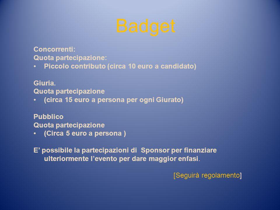 Badget Concorrenti: Quota partecipazione: