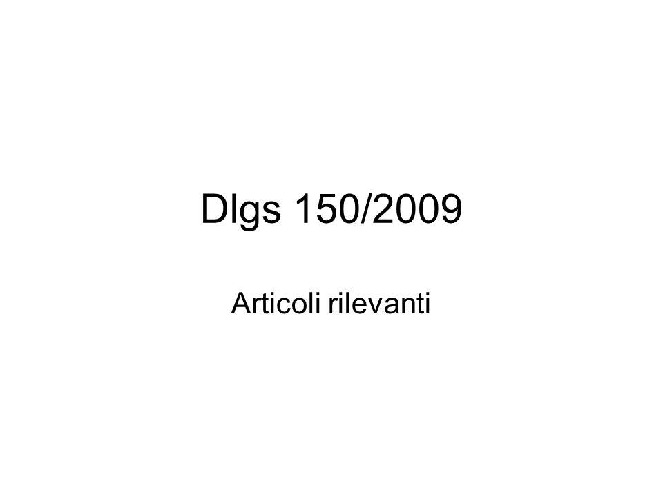 Dlgs 150/2009 Articoli rilevanti