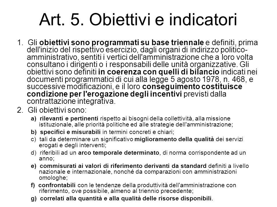 Art. 5. Obiettivi e indicatori