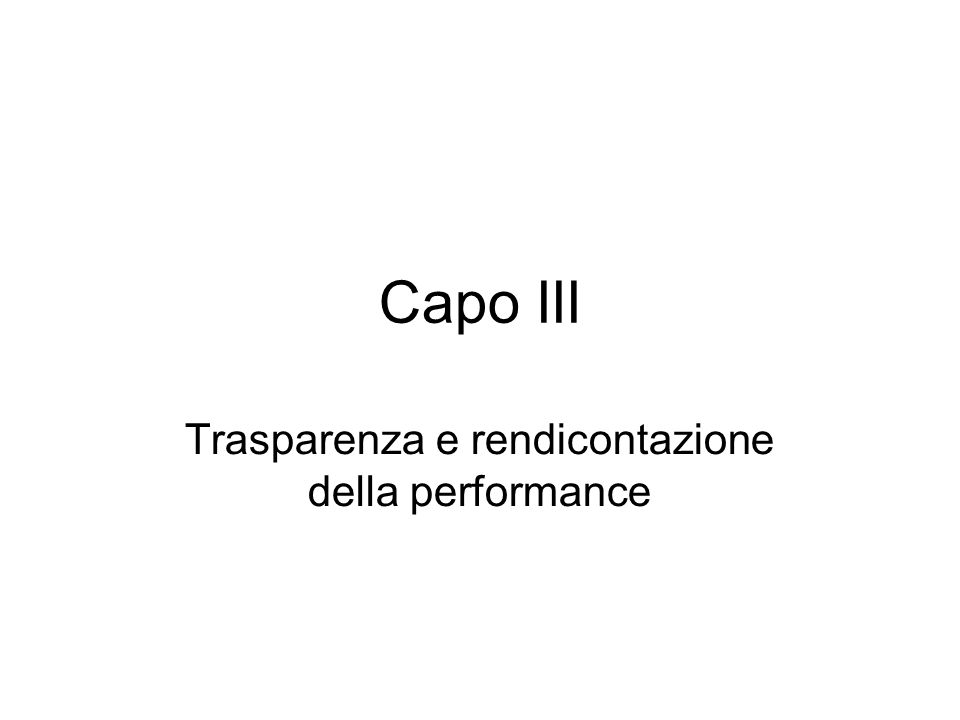 Trasparenza e rendicontazione della performance