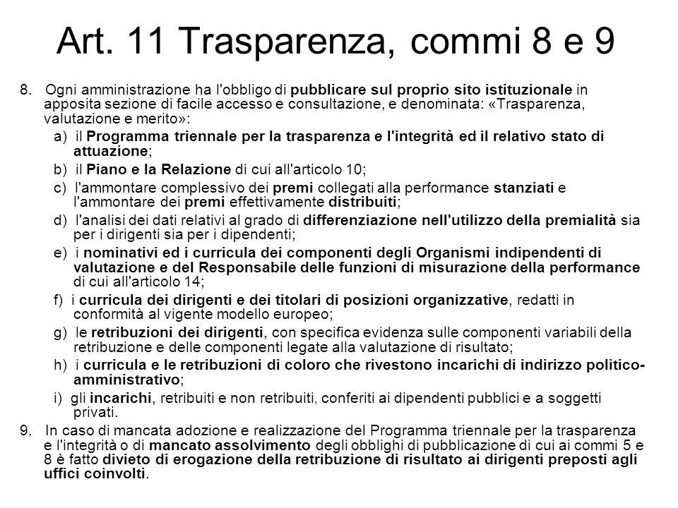 Art. 11 Trasparenza, commi 8 e 9