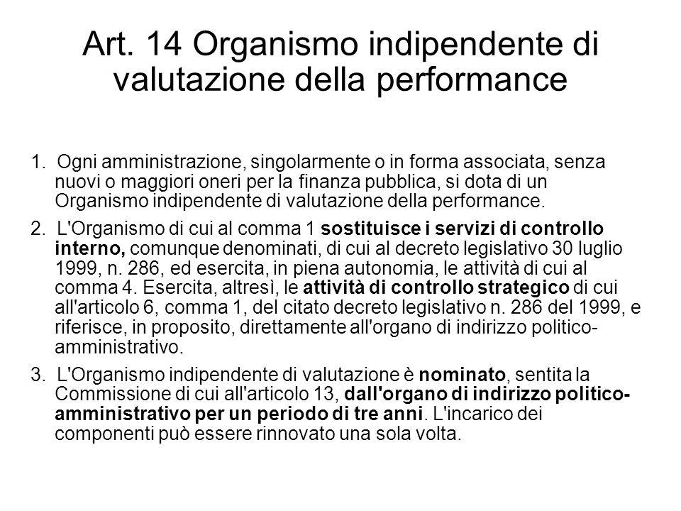 Art. 14 Organismo indipendente di valutazione della performance