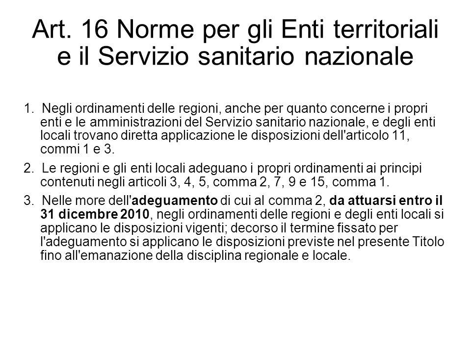 Art. 16 Norme per gli Enti territoriali e il Servizio sanitario nazionale