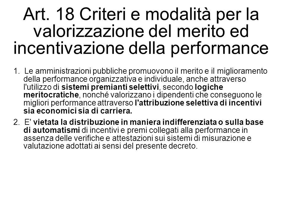 Art. 18 Criteri e modalità per la valorizzazione del merito ed incentivazione della performance