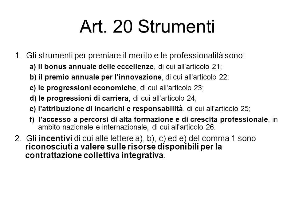 Art. 20 Strumenti 1. Gli strumenti per premiare il merito e le professionalità sono: a) il bonus annuale delle eccellenze, di cui all articolo 21;