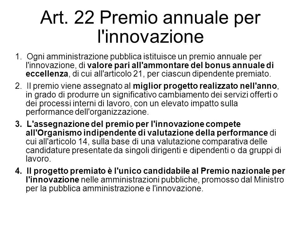 Art. 22 Premio annuale per l innovazione