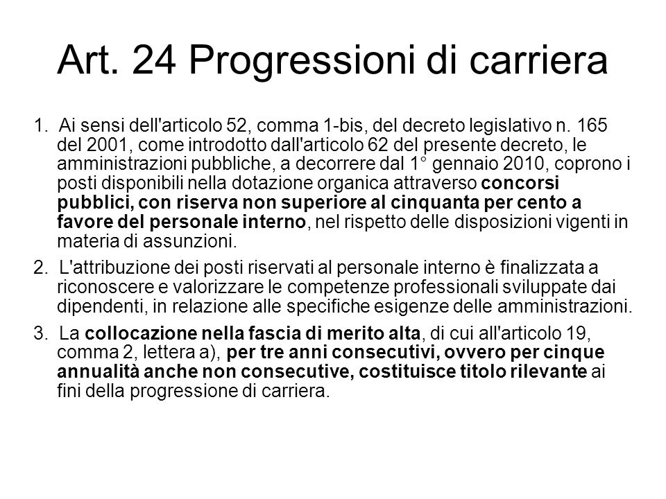 Art. 24 Progressioni di carriera