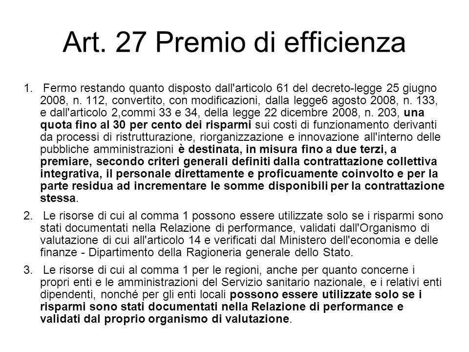 Art. 27 Premio di efficienza