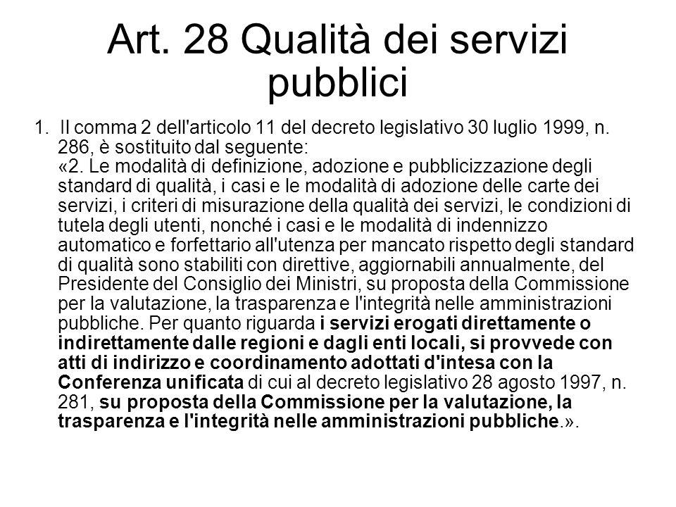 Art. 28 Qualità dei servizi pubblici