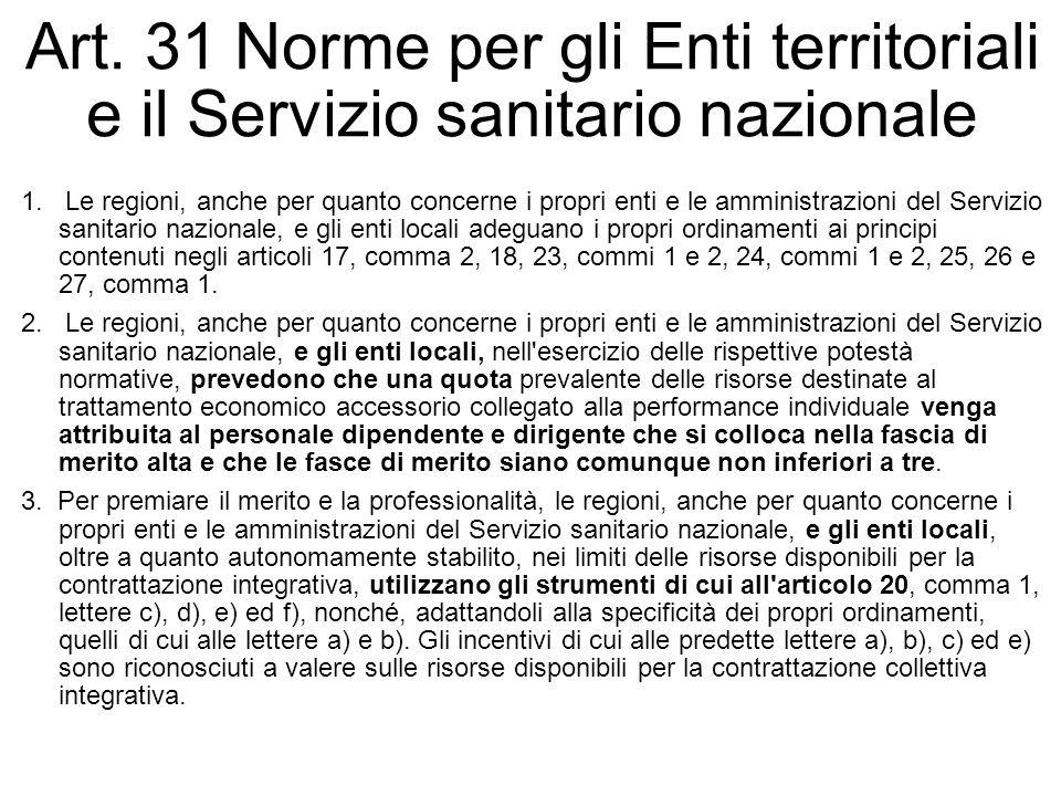 Art. 31 Norme per gli Enti territoriali e il Servizio sanitario nazionale
