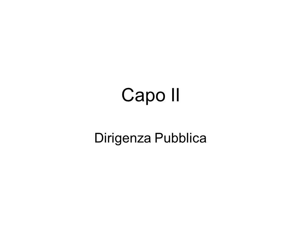 Capo II Dirigenza Pubblica