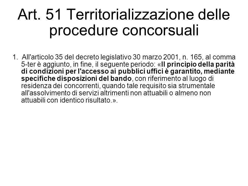 Art. 51 Territorializzazione delle procedure concorsuali