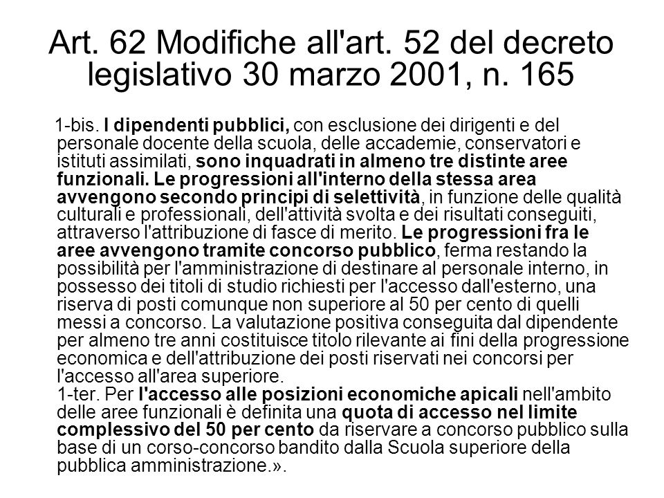 Art. 62 Modifiche all art. 52 del decreto legislativo 30 marzo 2001, n
