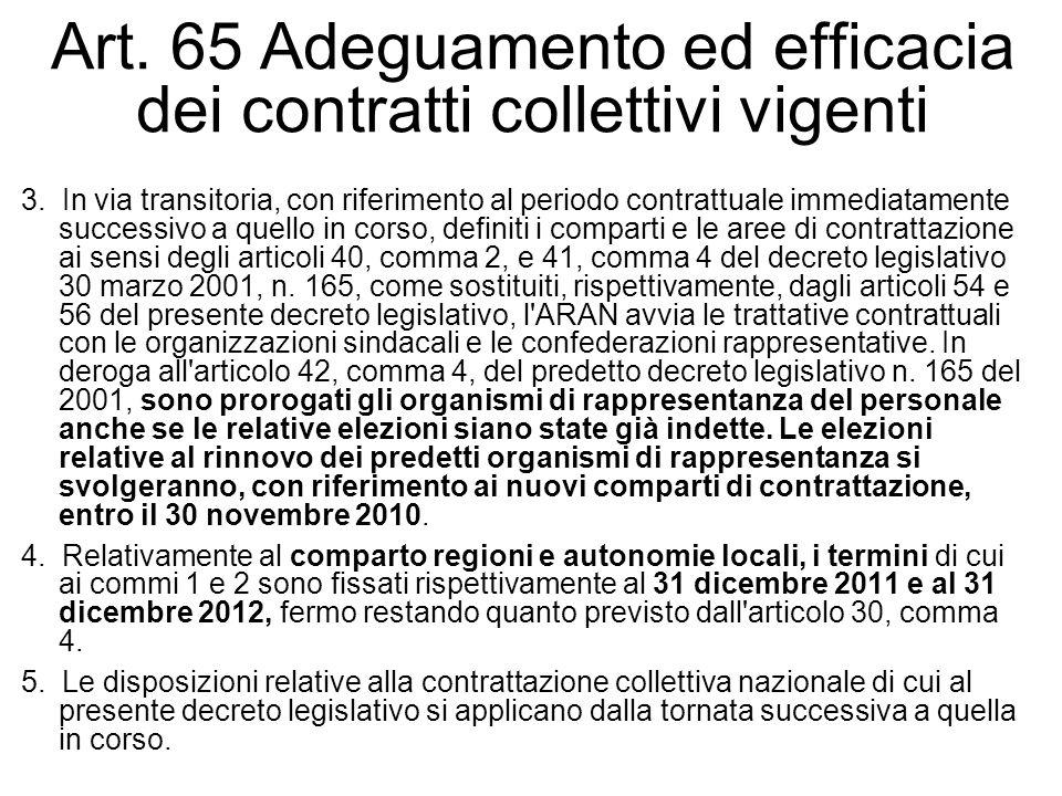 Art. 65 Adeguamento ed efficacia dei contratti collettivi vigenti