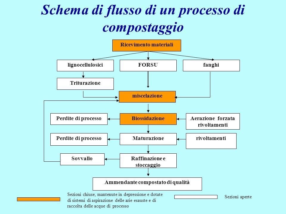 Schema di flusso di un processo di compostaggio