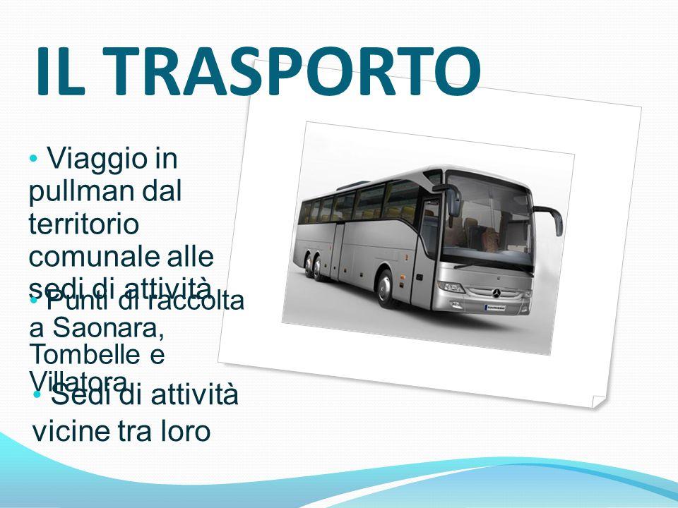 IL TRASPORTO Viaggio in pullman dal territorio comunale alle sedi di attività. Punti di raccolta a Saonara, Tombelle e Villatora.