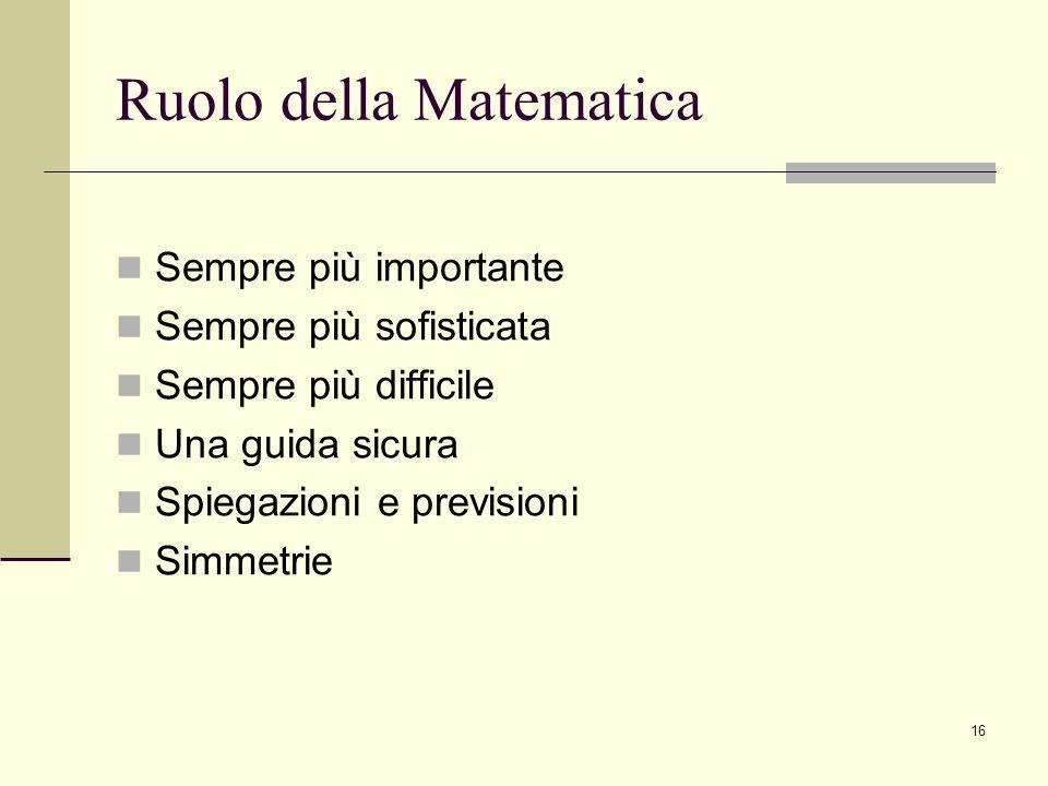 Ruolo della Matematica