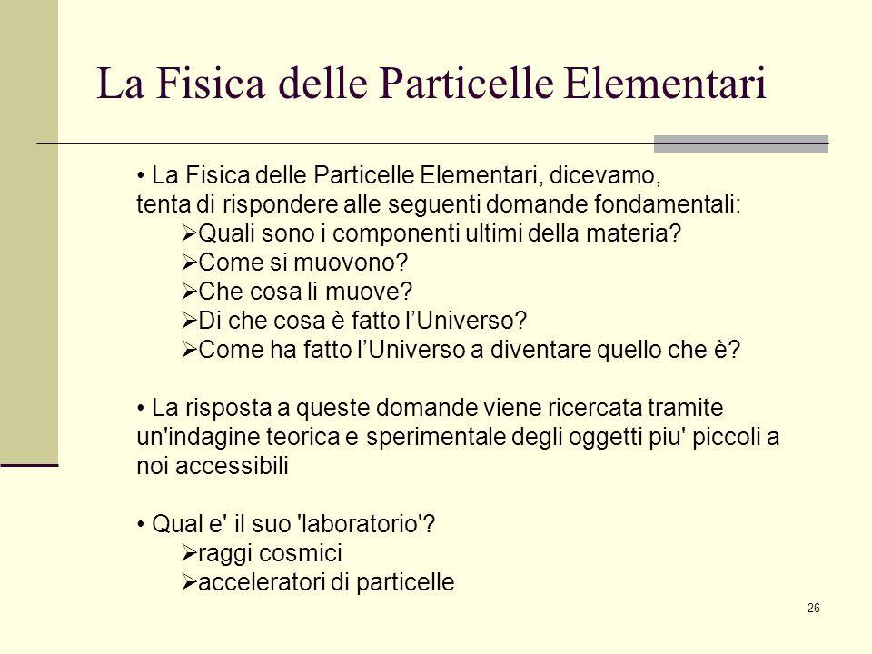 La Fisica delle Particelle Elementari