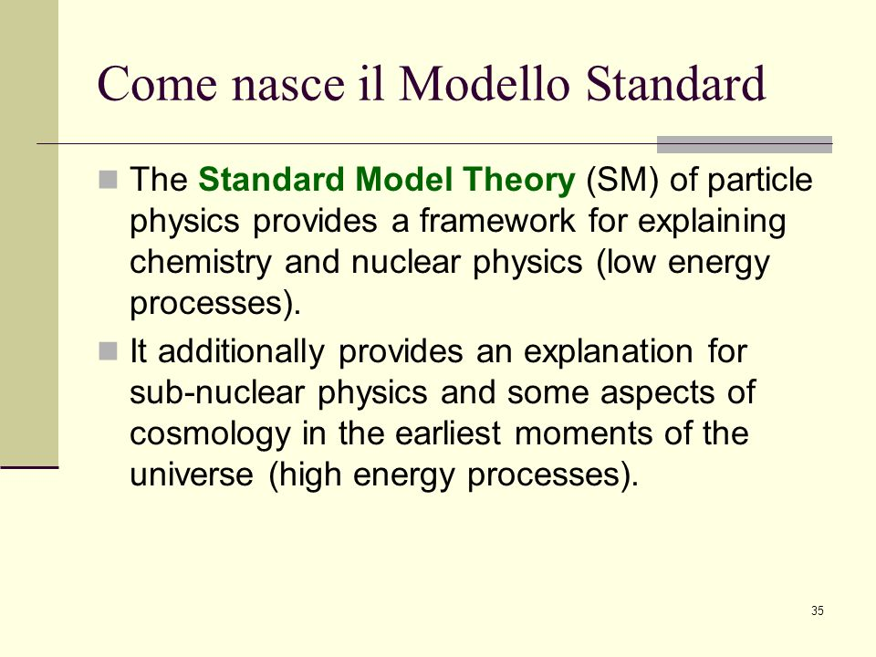 Come nasce il Modello Standard