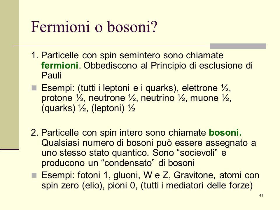 Fermioni o bosoni 1. Particelle con spin semintero sono chiamate fermioni. Obbediscono al Principio di esclusione di Pauli.