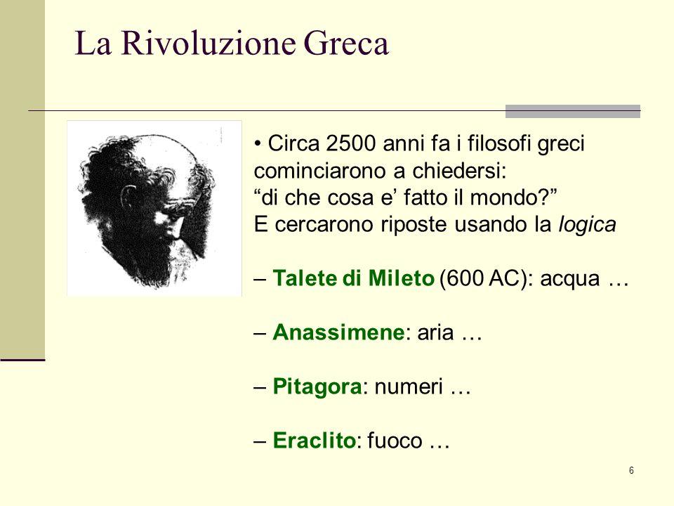 La Rivoluzione Greca Circa 2500 anni fa i filosofi greci
