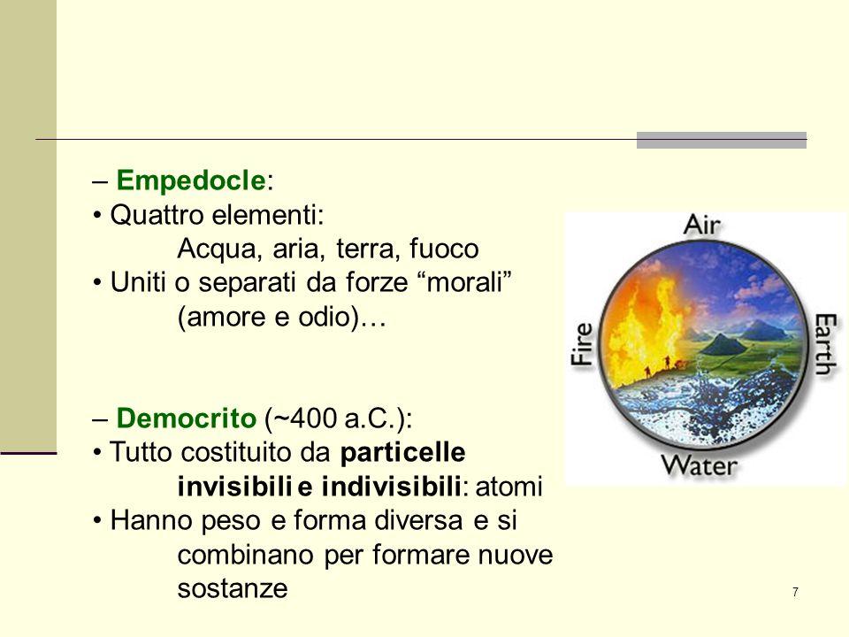 – Empedocle: • Quattro elementi: Acqua, aria, terra, fuoco. • Uniti o separati da forze morali (amore e odio)…
