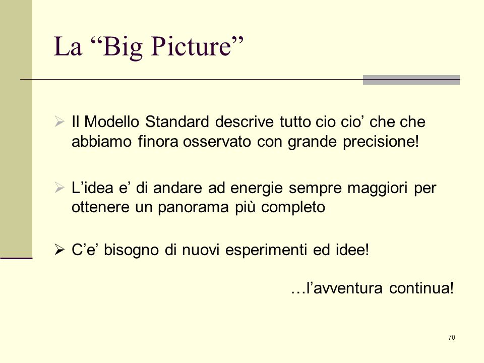La Big Picture Il Modello Standard descrive tutto cio cio' che che abbiamo finora osservato con grande precisione!