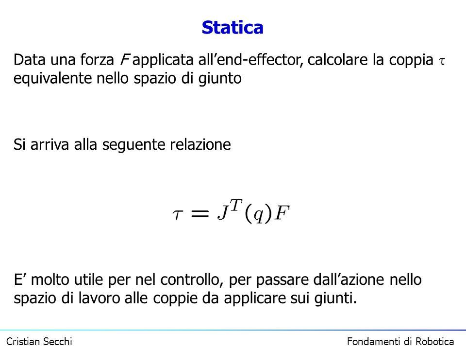 Statica Data una forza F applicata all'end-effector, calcolare la coppia  equivalente nello spazio di giunto.