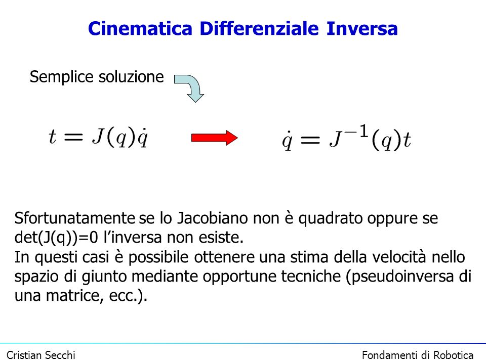 Cinematica Differenziale Inversa