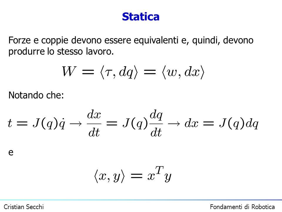 Statica Forze e coppie devono essere equivalenti e, quindi, devono produrre lo stesso lavoro. Notando che: