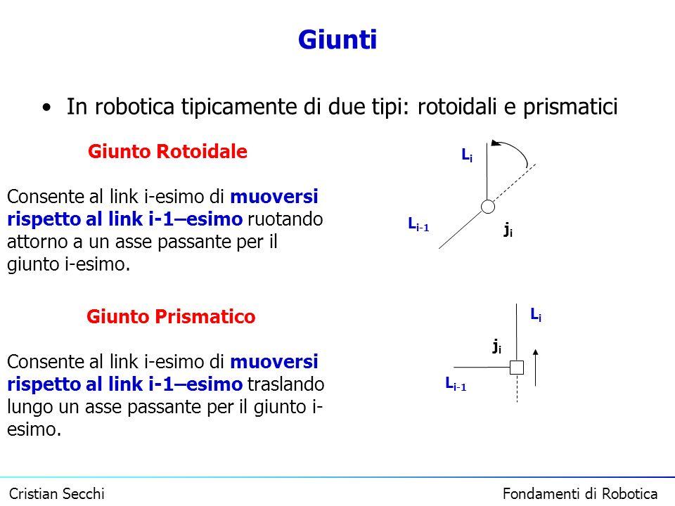 Giunti In robotica tipicamente di due tipi: rotoidali e prismatici