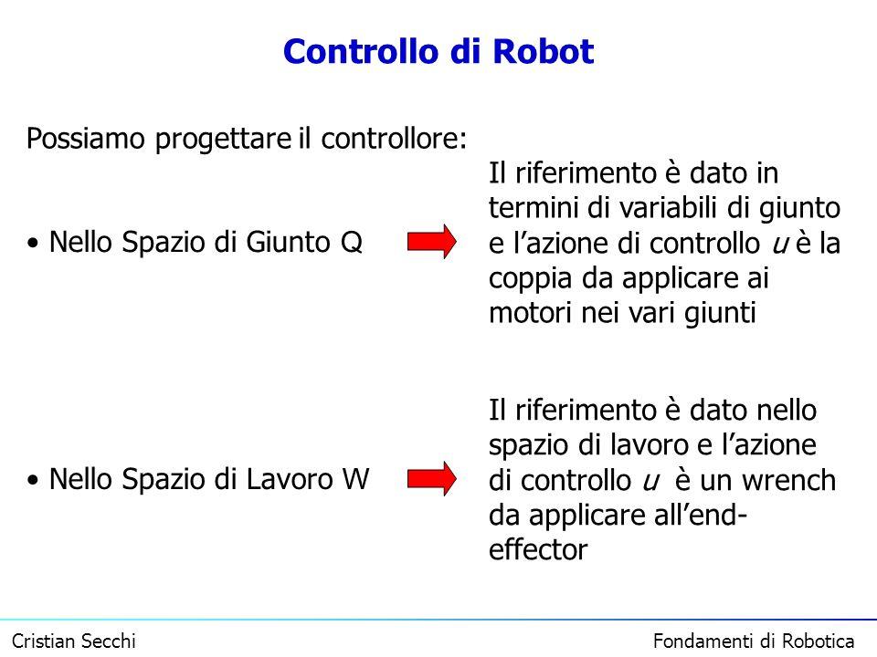 Controllo di Robot Possiamo progettare il controllore: