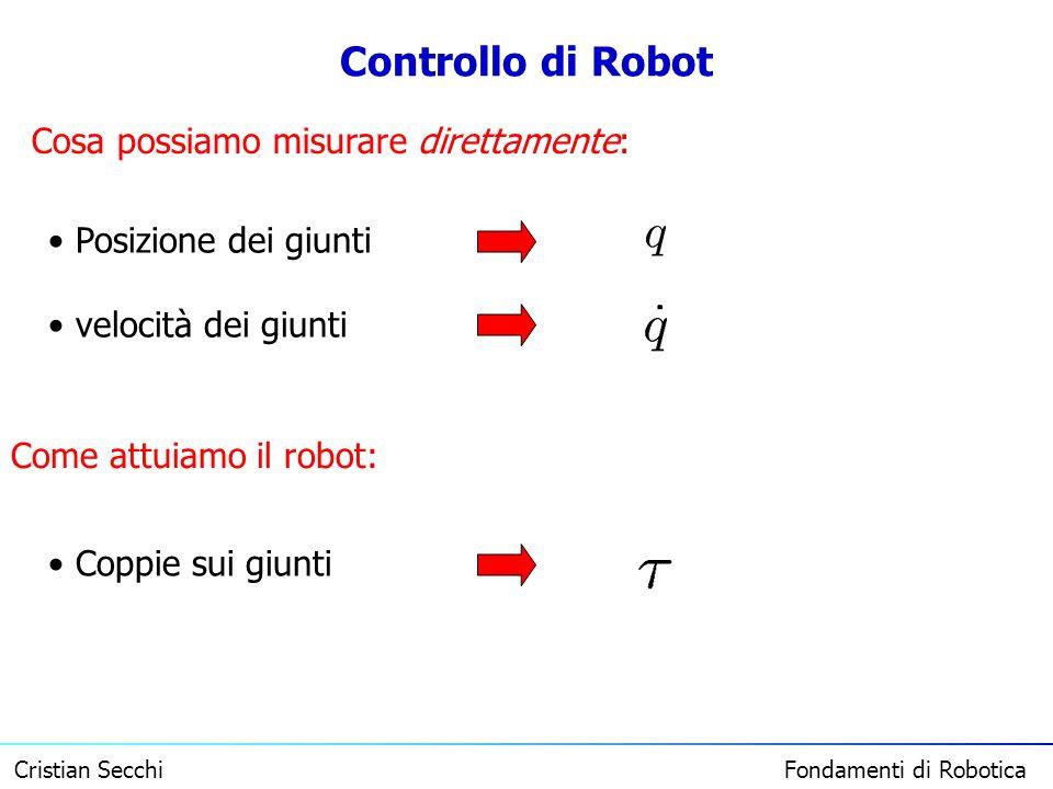 Controllo di Robot Cosa possiamo misurare direttamente: