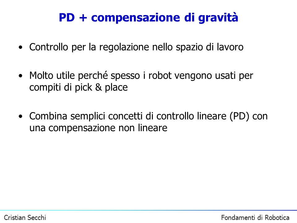 PD + compensazione di gravità