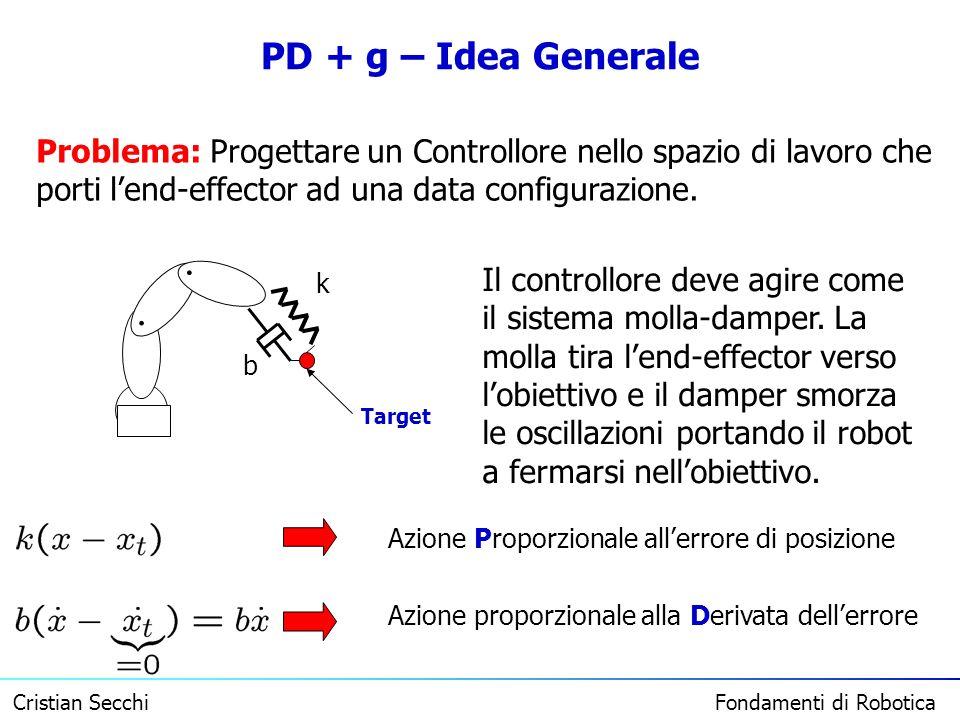 PD + g – Idea Generale Problema: Progettare un Controllore nello spazio di lavoro che porti l'end-effector ad una data configurazione.