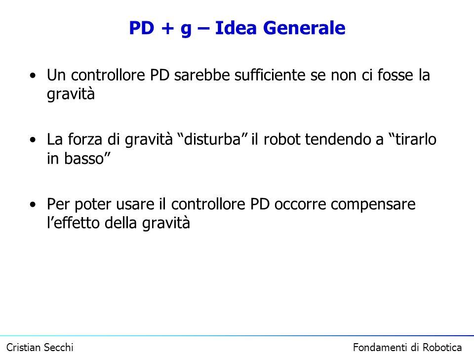 PD + g – Idea Generale Un controllore PD sarebbe sufficiente se non ci fosse la gravità.