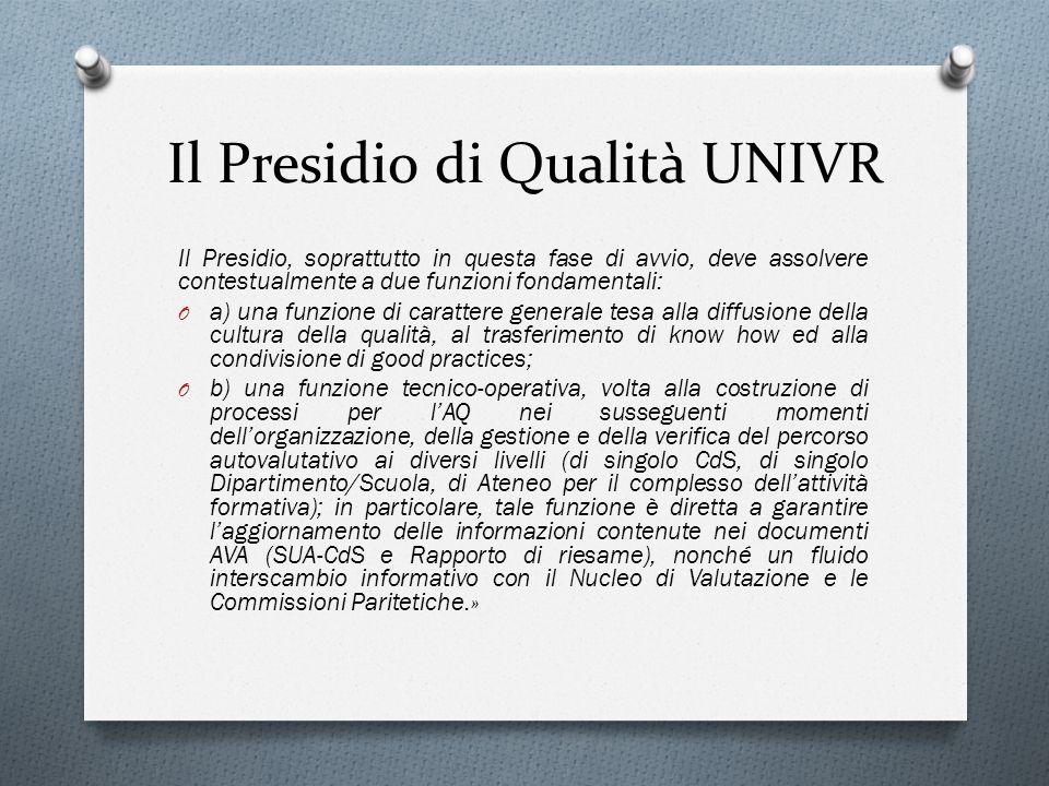 Il Presidio di Qualità UNIVR