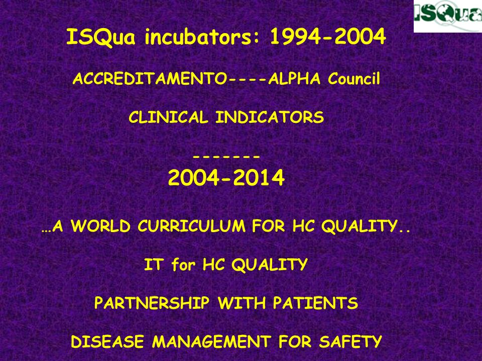 ISQua incubators: 1994-2004 2004-2014 ACCREDITAMENTO----ALPHA Council