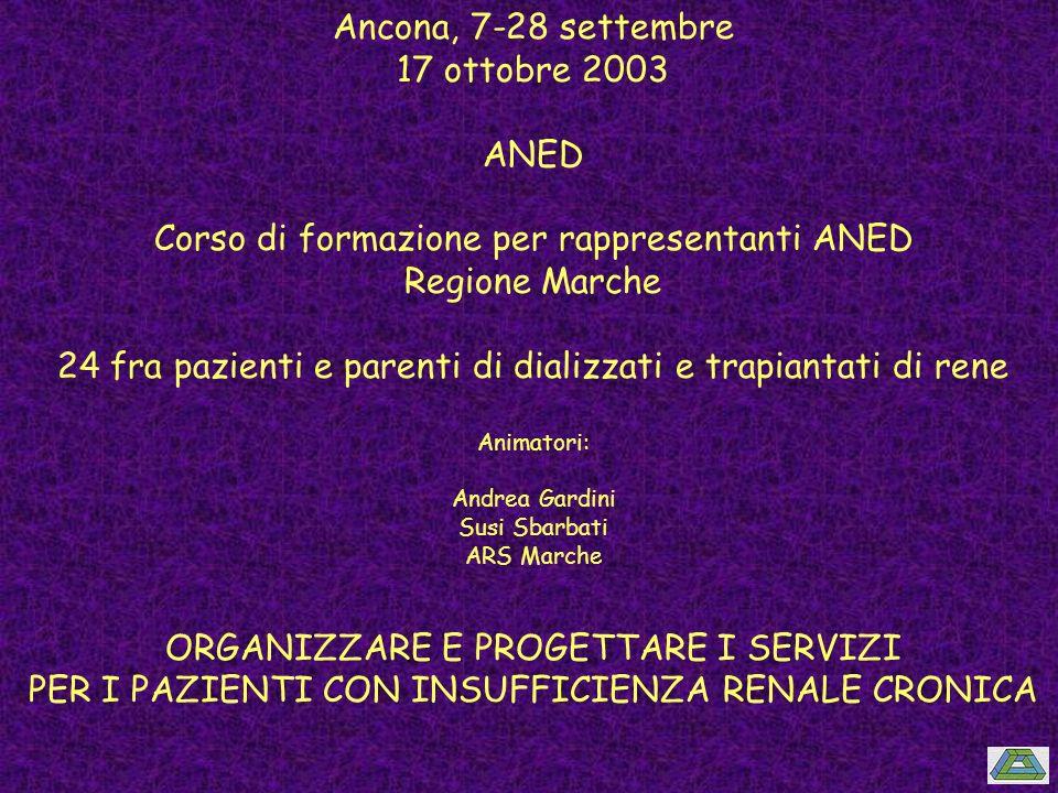 Corso di formazione per rappresentanti ANED Regione Marche