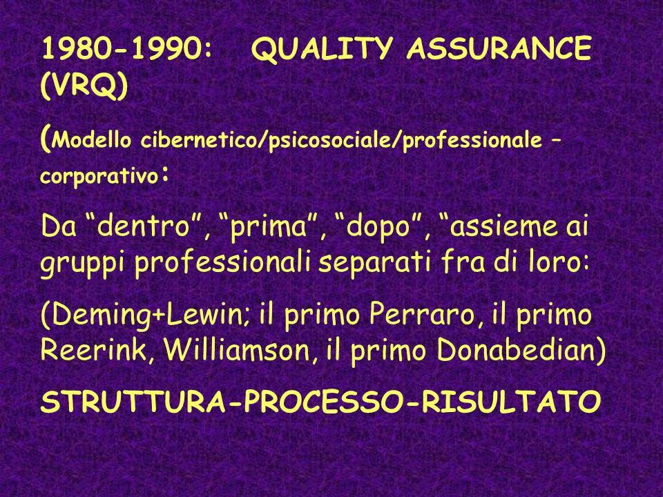 1980-1990: QUALITY ASSURANCE (VRQ)