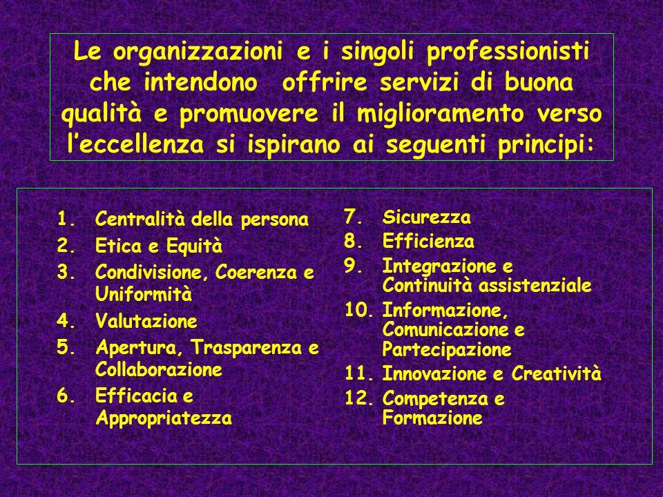 Le organizzazioni e i singoli professionisti che intendono offrire servizi di buona qualità e promuovere il miglioramento verso l'eccellenza si ispirano ai seguenti principi: