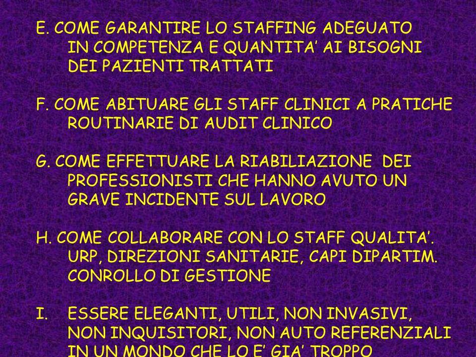 E. COME GARANTIRE LO STAFFING ADEGUATO