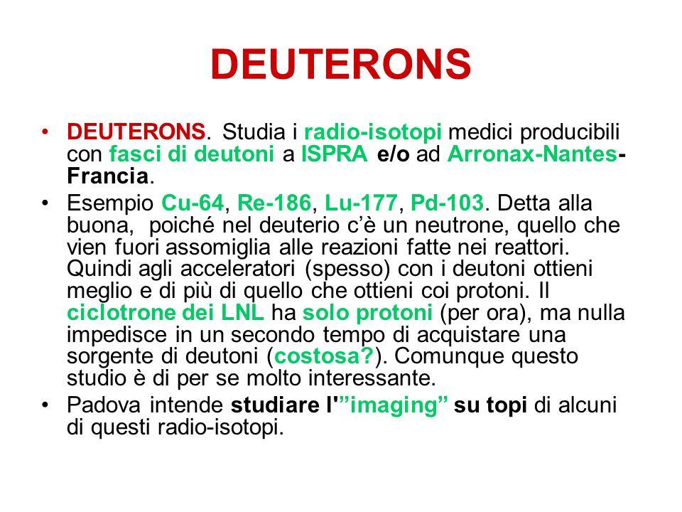 DEUTERONS DEUTERONS. Studia i radio-isotopi medici producibili con fasci di deutoni a ISPRA e/o ad Arronax-Nantes-Francia.