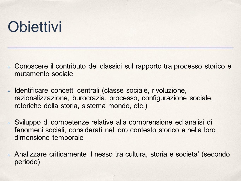 Obiettivi Conoscere il contributo dei classici sul rapporto tra processo storico e mutamento sociale.
