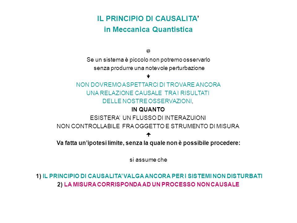 IL PRINCIPIO DI CAUSALITA' in Meccanica Quantistica