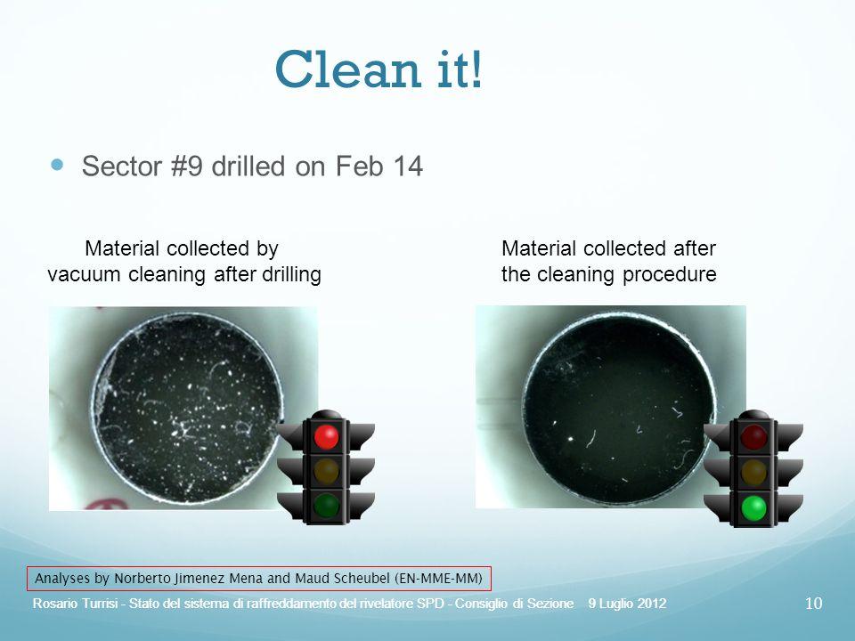 Clean it! Sector #9 drilled on Feb 14 Material collected by